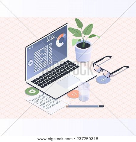 Software Development And Programming.programmer Coding Binary Computer Isometric Flat Vector