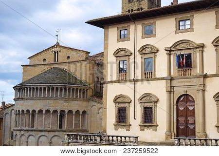 The Ancient Historic Buildings Overlooking The Big Square In Arezzo - Tuscany - Italy