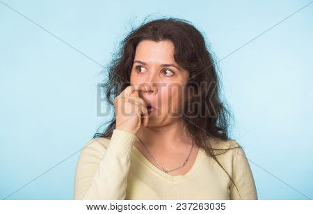 Woman Picks His Nose Finger. Female Climbs A Finger In Nose. Embarrassment.