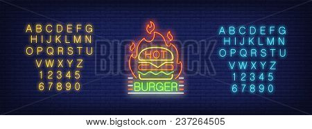Hot Burger Logotype Neon Sign. Yellow And Blue Sets Of English Alphabet And Numbers. Neon Sign, Nigh