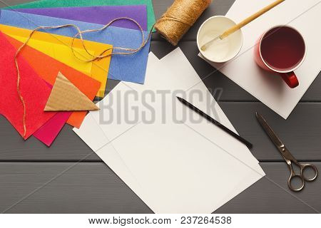 Birthday Handmade Background. Colorful Party Paper Decorations, Flags And Diy Accessories On Gray Wo