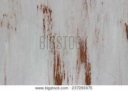 Old Metal Wall Background.cracked White Paint On An Old Metallic Surface, Rusted White Painted Metal
