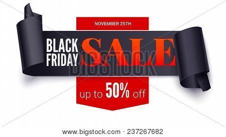Black Friday Sale, Horizontal Poster. Black Ribbon With Curled Edges. Paper Scrolls. Offer About Fan