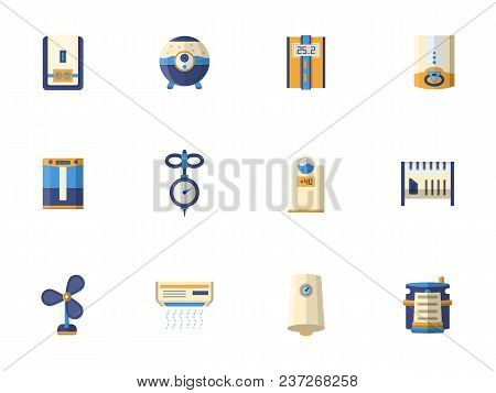 Symbols Of Household Climatic Equipment. Heating And Cooling System, Air Humidity Control. Set Of Fl