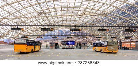 Chur, Switzerland - 3 March, 2017: Post Buses At The Chur Bus Station. Post Bus Switzerland (german: