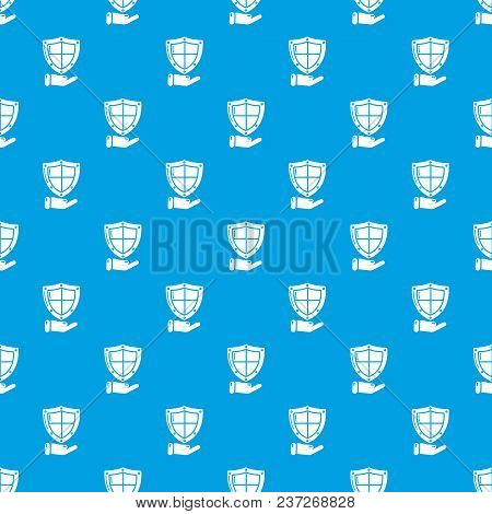 Shield Pattern Vector Seamless Blue Repeat For Any Use