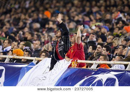 VALENCIA, SPAIN - FEBRUARY 15 - Valencia c.f. supporters in the UEFA Champions League between Valencia C.F. vs Schalke 04 - Mestalla Luis Casanova Stadium - Spain on February 15, 2011