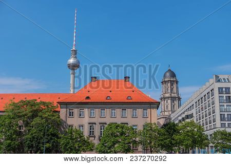 Berlin City, Germany, Europe. Cityscape With Tv Tower. View Of Berlin Skyline In Sunny Summer Day. C