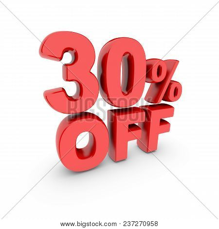 30 Percent Off Promotion. Discount Sign. Red Text Is Isolated On White. 3d Render