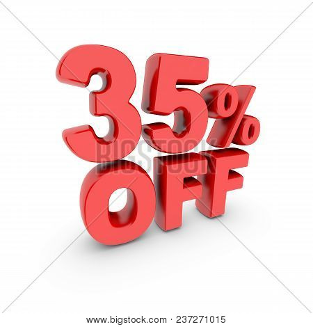 35 Percent Off Promotion. Discount Sign. Red Text Is Isolated On White. 3d Render