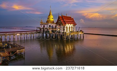 Beautiful Wat Hong Thong Located In A Mangrove Forest Area , Magnificient Temple On The Sea In Sunse