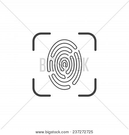Icon Of A Fingerprint Scanner On A White Background. Vector Illustration, Easy Color Editing.