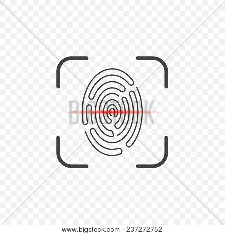 Icon Of A Fingerprint Scanner On A Transparent Background With A Red Stripe For Scanning. Vector Ill