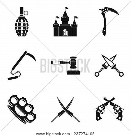 Weapon Proficiency Icons Set. Simple Set Of 9 Weapon Proficiency Vector Icons For Web Isolated On Wh
