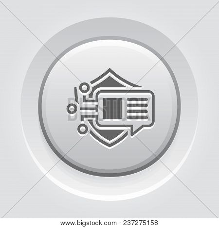 Encrypted Messaging Button Icon With Shield. Modern Computer Network Technology Sign. Digital Graphi