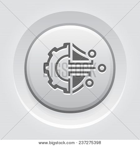 Cryptography Settings Button Icon. Modern Computer Network Technology Sign. Digital Graphic Symbol.