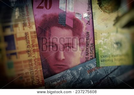 Swiss Cash Paper Notes Twenty Francs. The Money Is On The Table.