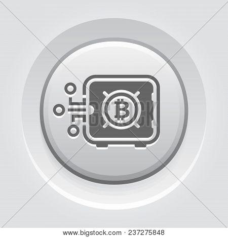 Bitcoin Safe Box Button Icon. Modern Financial Technology Sign. Digital Graphic Symbol. Bank Safe Bo