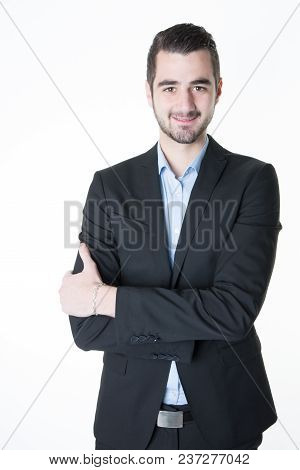 Handsome Smiling Confident Businessman Portrait Arms Crossed