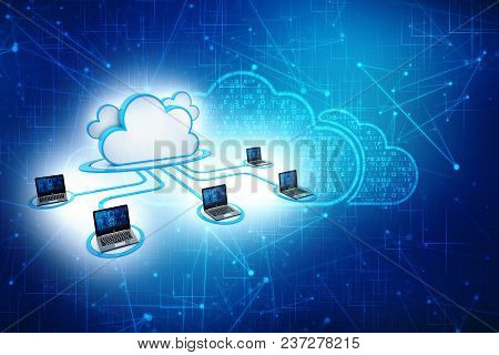 3d Rendering Cloud Computing Concept, Cloud Network Isolated In Digital Background