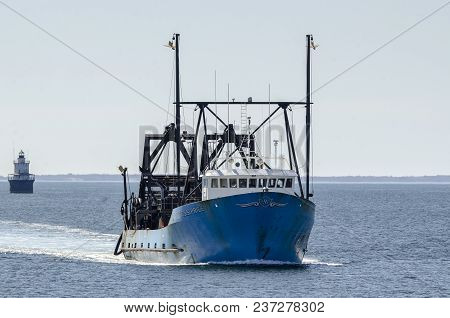 New Bedford, Massachusetts, Usa - April 22, 2018: Commercial Fishing Vessel E.s.s. Pride, Hailing Po