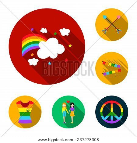 Gay And Lesbian Flat Icons In Set Collection For Design.sexual Minority And Attributes Vector Symbol