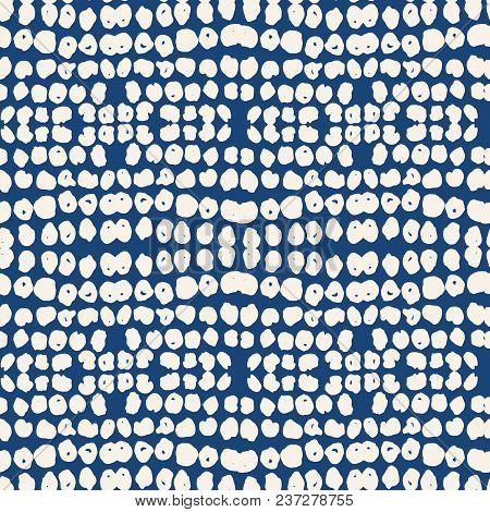 White Black Dot Pattern. Vector Shibori Spotty Seamless Print. Organic Hipster Watercolor Background