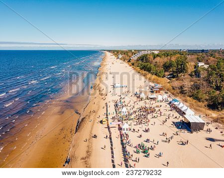 April 22, 2018. Jurmala, Latvia. Aerial View From Drone On Crowd Of People Who Is Starting Are Runni