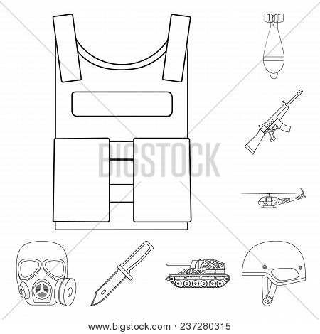 Army And Armament Outline Icons In Set Collection For Design. Weapons And Equipment Vector Symbol St