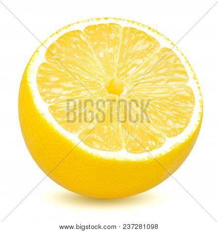 Isolated Lemon. Half Of Lemon Citrus Fruit Isolated On White Background With Clipping Path