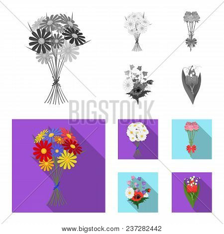 A Bouquet Of Fresh Flowers Monochrome, Flat Icons In Set Collection For Design. Various Bouquets Vec