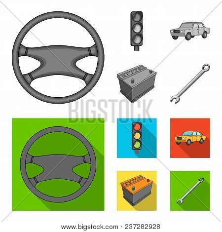 Traffic Light, Old Car, Battery, Wrench, Car Set Collection Icons In Monochrome, Flat Style Vector S