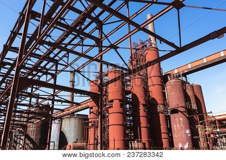 Pipes And Tanks Of Coking Plant On The Grounds Of The Zeche Zollverein