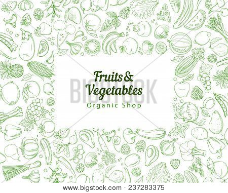 Frame Border Background Pattern Of Green Organic Farm Fresh Tropical Fruits And Vegetables. Vector I