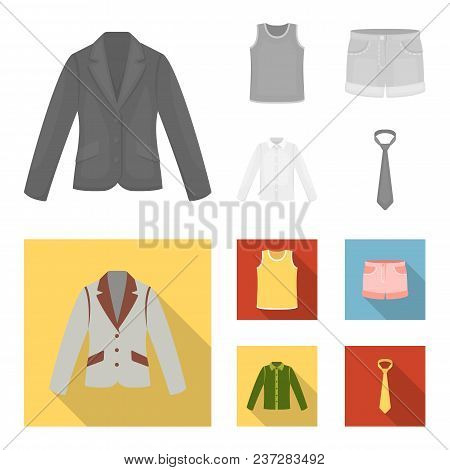 Shirt With Long Sleeves, Shorts, T-shirt, Tie.clothing Set Collection Icons In Monochrome, Flat Styl