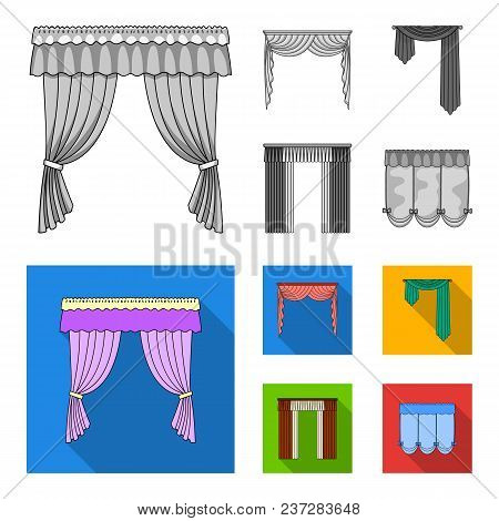 Different Types Of Window Curtains.curtains Set Collection Icons In Monochrome, Flat Style Vector Sy