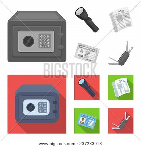 Flashlight, Newspaper With News, Certificate, Folding Knife.detective Set Collection Icons In Monoch