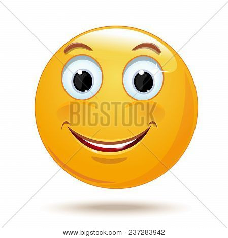 Cheerful Smiling Smiley. Happy Smiley Emoticon Face. Positive Smiling Ball. Vector Illustration Isol