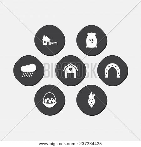 Set Of 7 Agricultural Icons Set. Collection Of Rain, Egg Basket, Barn And Other Elements.
