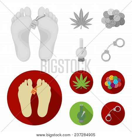 Hemp Leaf, Ecstasy Pill, Handcuffs, Bong.drug Set Collection Icons In Monochrome, Flat Style Vector