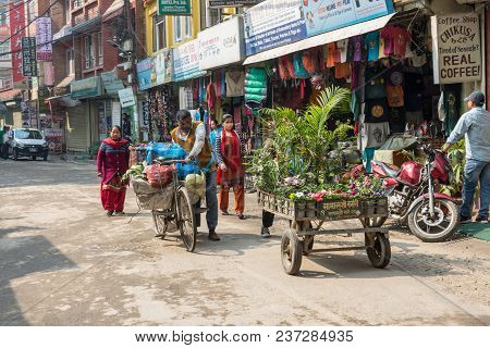 A Sunny Day On The Narrow Streets Of Kathmandu On March 25, 2018 In Kathmandu, Nepal.