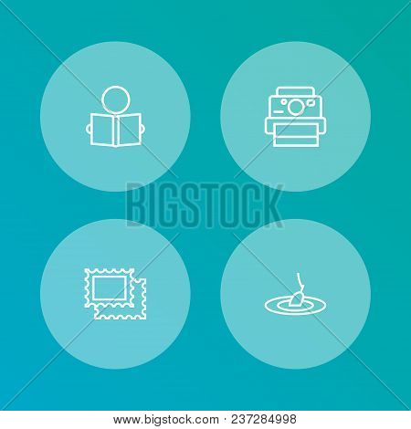 Set Of 4 Lifestyle Icons Line Style Set. Collection Of Collecting, Rod, Photo Camera And Other Eleme