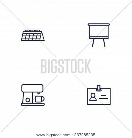 Set Of 4 Workspace Icons Line Style Set. Collection Of Espresso, Date, Blackboard And Other Elements