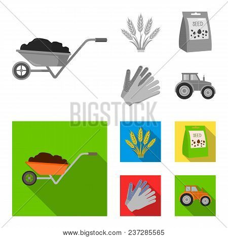 Spikelets Of Wheat, A Packet Of Seeds, A Tractor, Gloves.farm Set Collection Icons In Monochrome, Fl