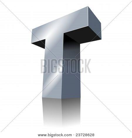 3d icon - Metallic T 3