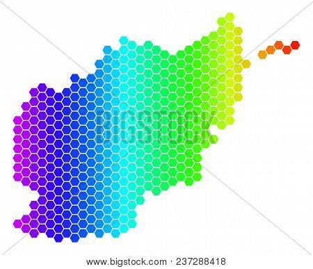 Hexagon Spectrum Afghanistan Map. Vector Geographic Map In Bright Colors On A White Background. Spec