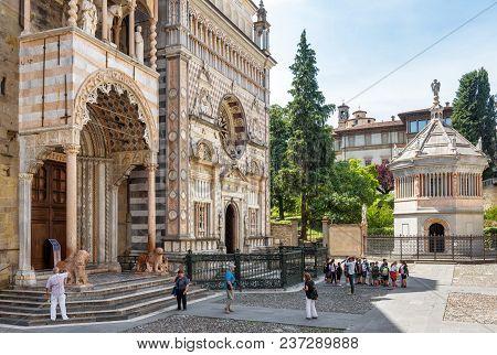 Bergamo, Italy - May 23, 2017: Basilica Of Santa Maria Maggiore In Citta Alta. Historical Architectu