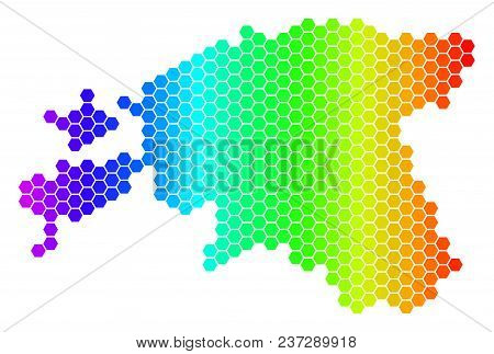 Spectrum Hexagonal Estonia Map. Vector Geographic Map In Bright Colors On A White Background. Spectr