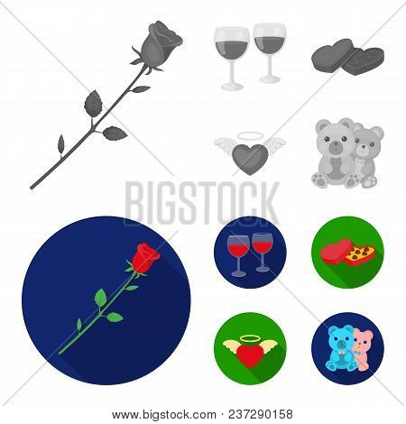Glasses With Wine, Chocolate Hearts, Bears, Valentine.romantik Set Collection Icons In Monochrome, F