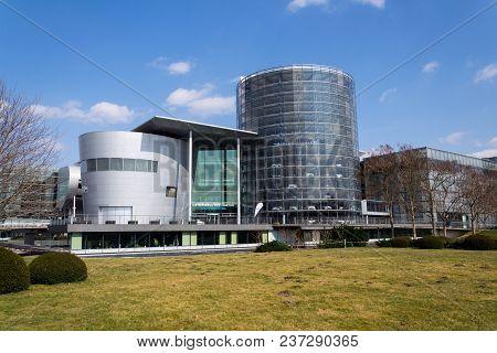 Dresden, Germany - April 2 2018: Electric Cars In Glaserne Manufaktur - Transparent Factory On April